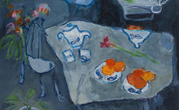 Oranges on Blue Table SOLD