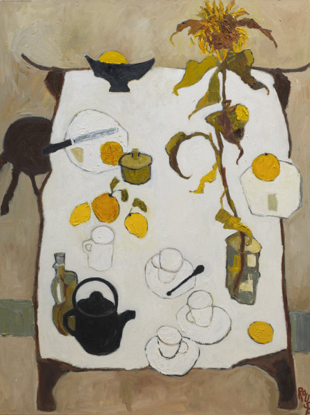 Table with Sunflowers<br>Oil on Canvas, Framed, 91x120cm<br>SOLD