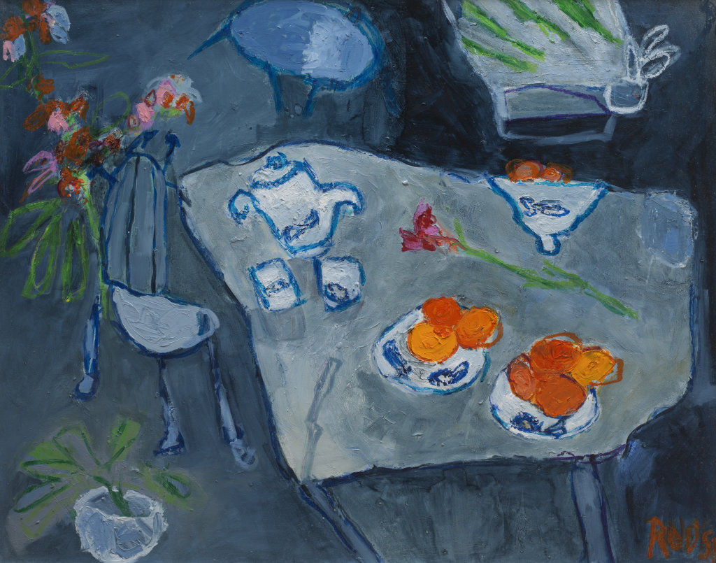 Oranges on Blue Table<br>Oil on Gesso Board, 81x101cm<br>SOLD