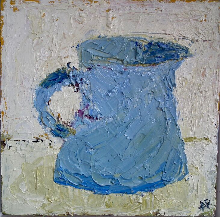 Blue Jug oil on canvas 20x20cms framed