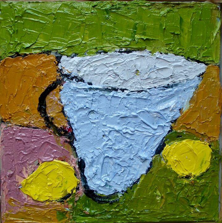 Blue Pitcher and Lemons oil on canvas framed