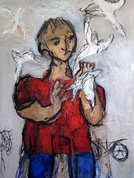 Boy and Birds<br>Mixed Media, Framed, 75x100cm