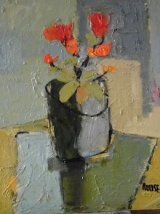 Red Flowers in Grey Pot