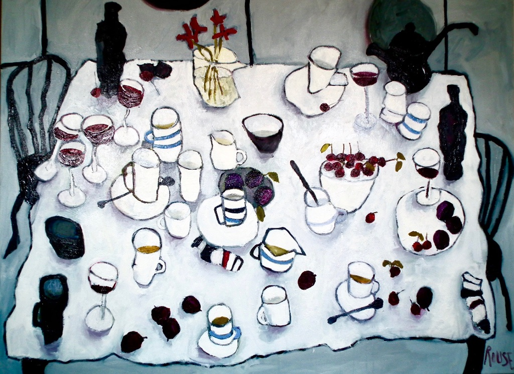 Table With Wine and Cherries (sold)