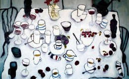 Table With Wine and Cherries