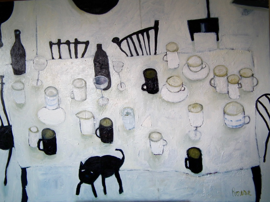 Table with Black Cat<br>Oil on Canvas, Framed, 91x120cm<br>SOLD