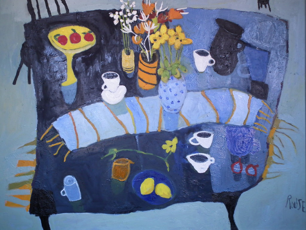 Blue Table with Blue Runner<br>Oil on Canvas, Framed, 84x105cm