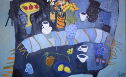 Blue Table with Blue Runner