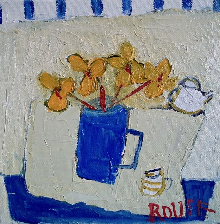 The Blue Mug with Yellow Flowers