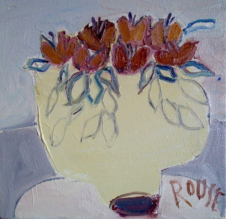 Cream Pot of oil on canvas 20x20cms framed