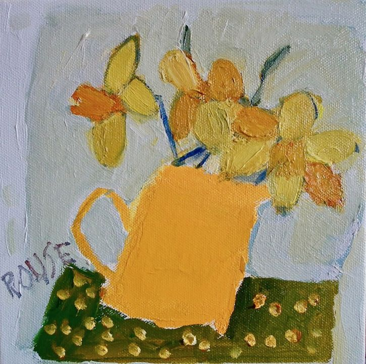 Yellow Jug of oil on canvas 20x20cms framed