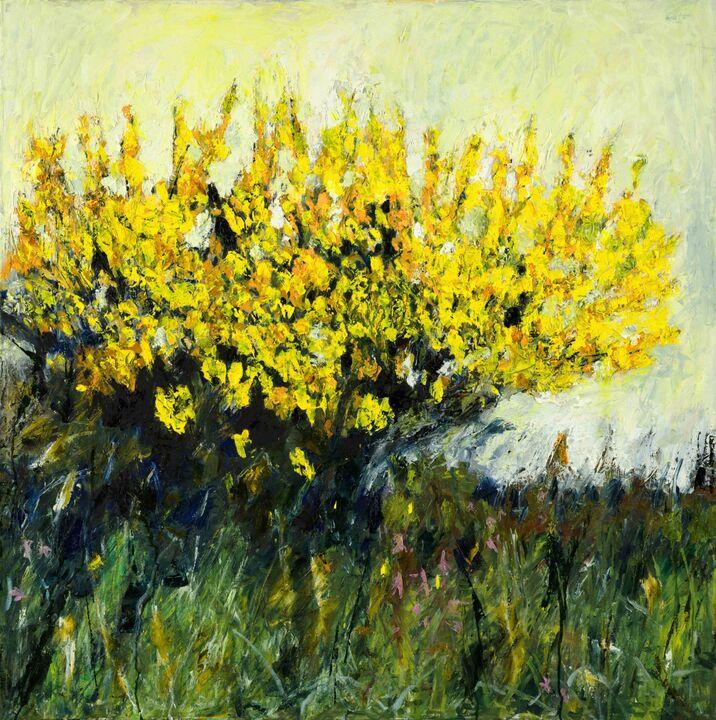 Gorse  oil on canvas 100x 100 cms.+frame