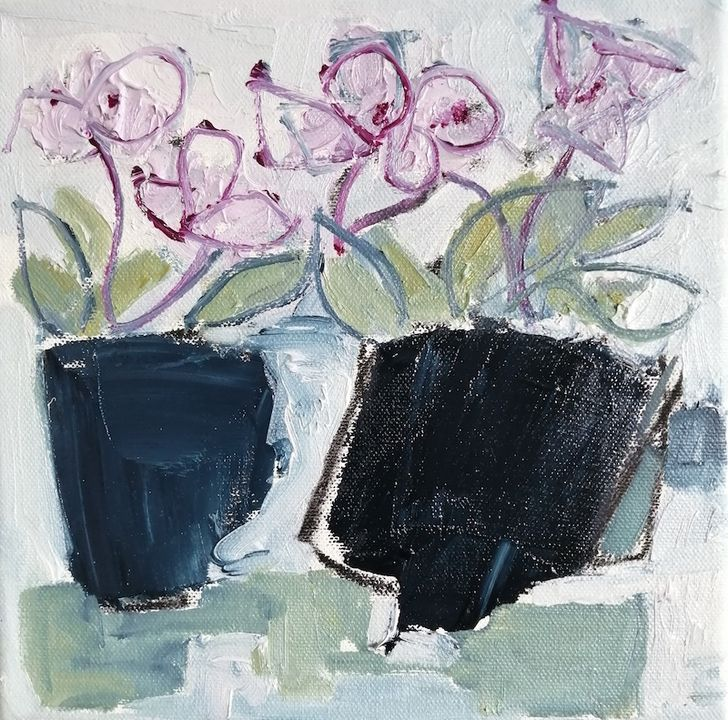 Two Pots of oil on canvas 20x20cms+frame