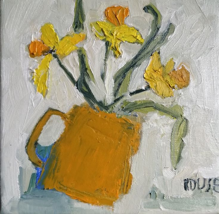 Yellow Daffodils in yellow Mug (sold) oil on canvas framed 20x20cms