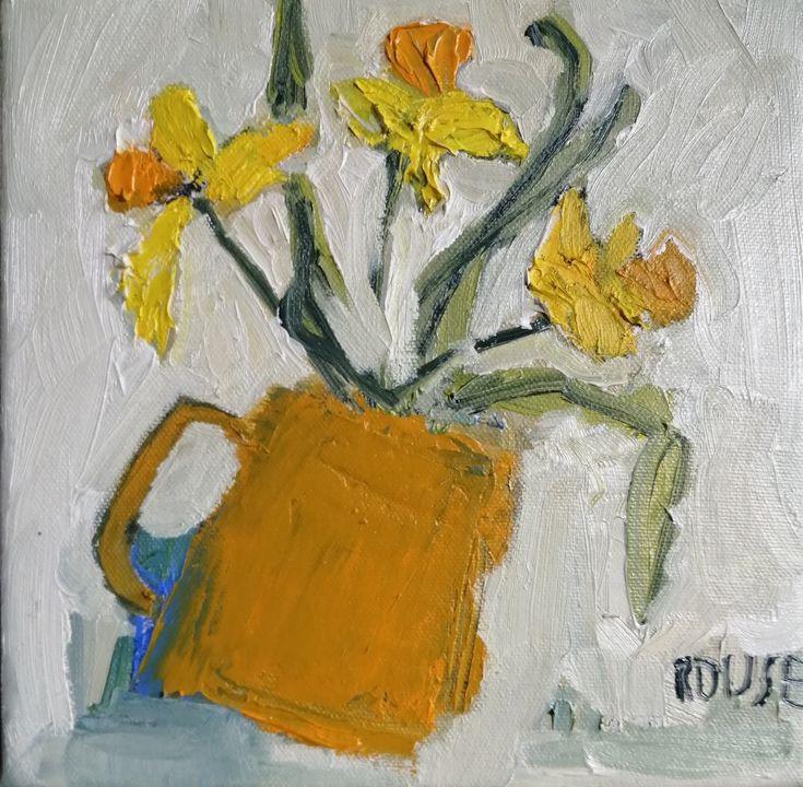 Yellow Daffodils in yellow Mug (sold)