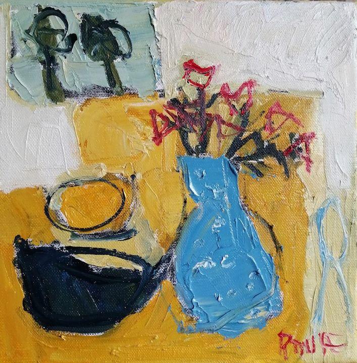 Blue Jug on Table (soldoil on canvas 20x20cms framed