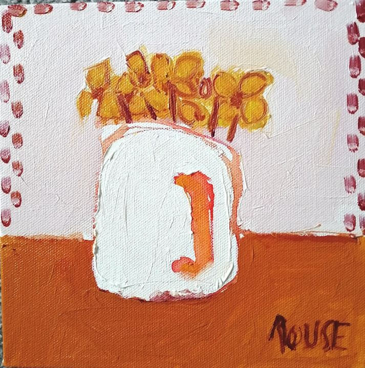 White Jug on Orange oil on canvas 20x20cms framed