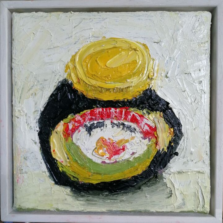 Marmite 20x20cms  oil on canvas framed