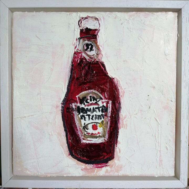 Ketchup oil on canvas 20x20cms. framed SOLD