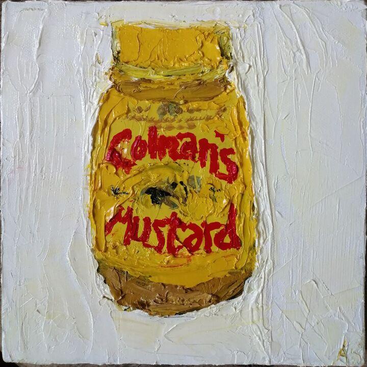Colmans Mustard 20x20cms oil on canvas framed