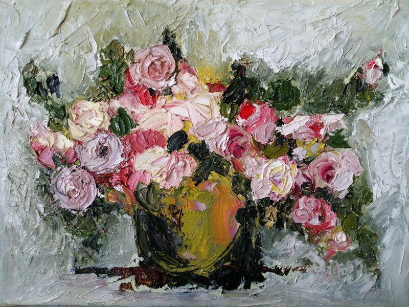 Roses in Enamel Vase oil on canvas 30x40 framed