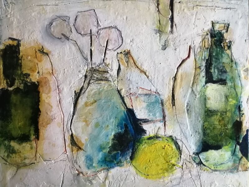 Bottles (sold) 10x12ins. mixed media on gesso panel