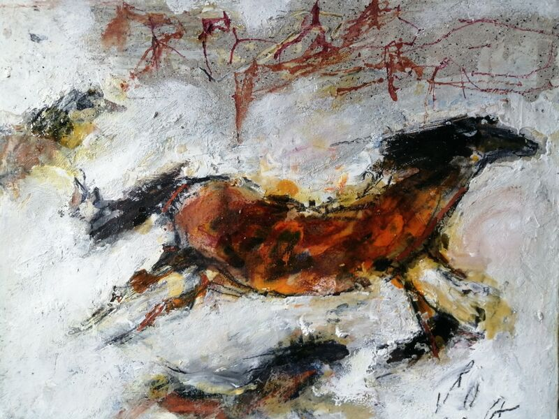 Horses (sold) 10x12ins. mixed media on gesso panel