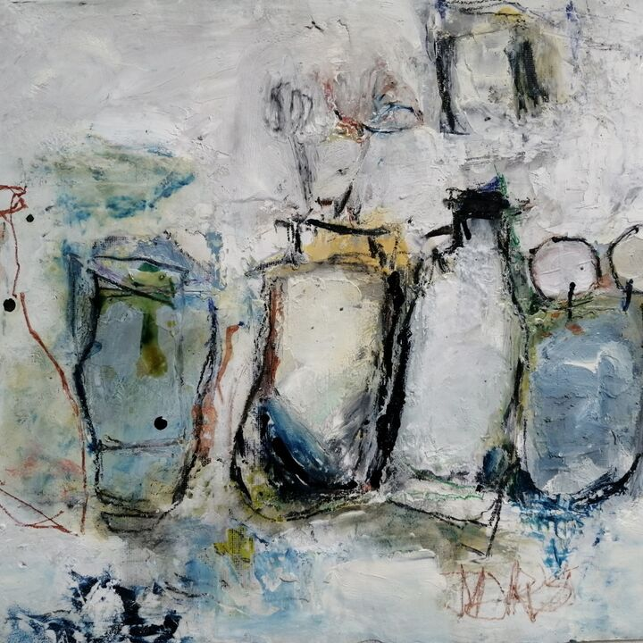 Jars. 10x12ins mixed on gesso