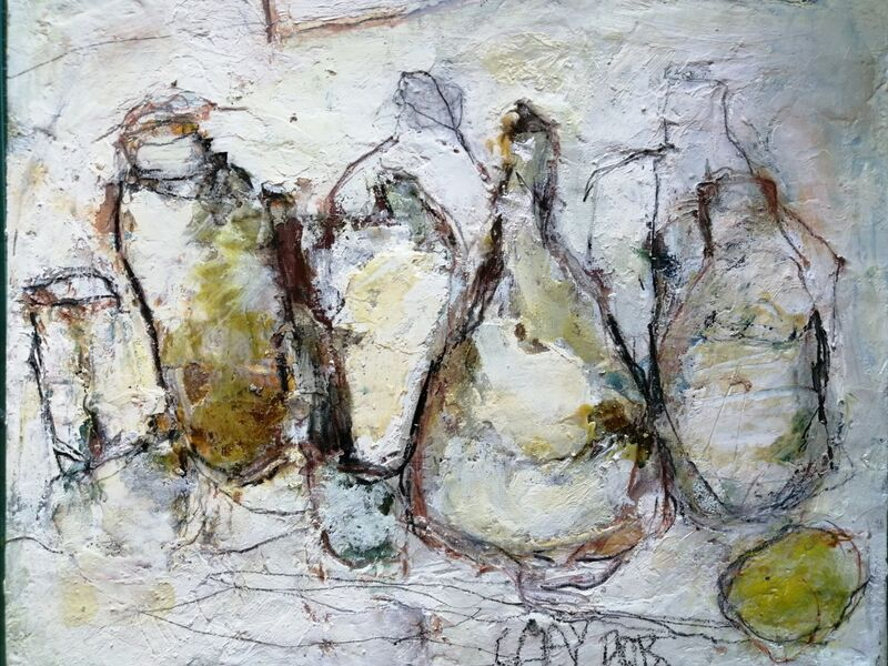 Clay Pots. 10x12ins mixed media on gesso