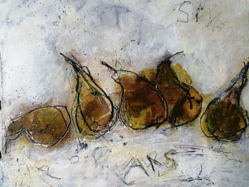 Little Pears. 8x10ins. mixed media on gesso panel