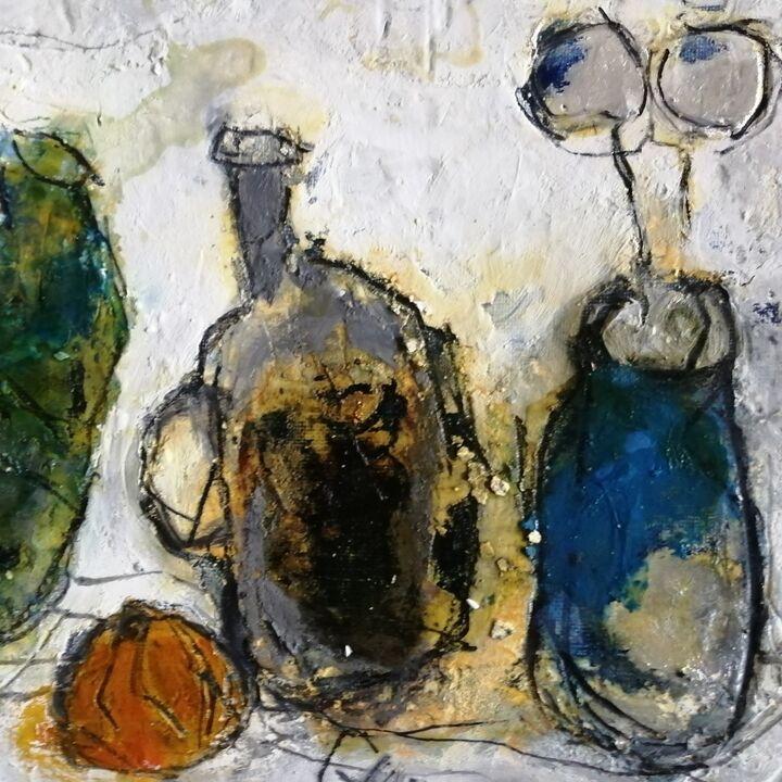 Glazed Jars. .mixed media on gesso