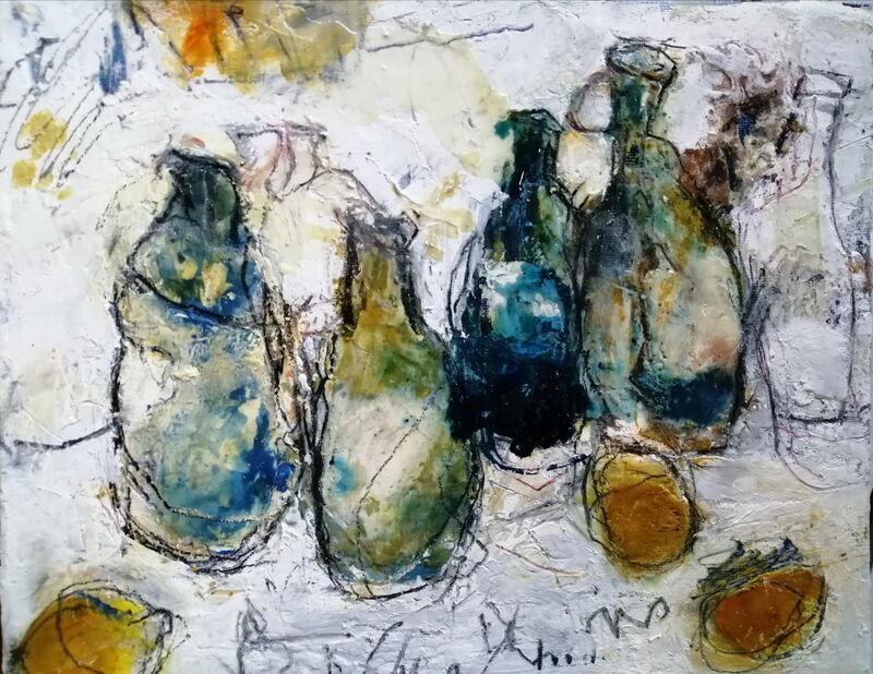 Bottle and Lemons 10x12ins. mixed media on gesso panel
