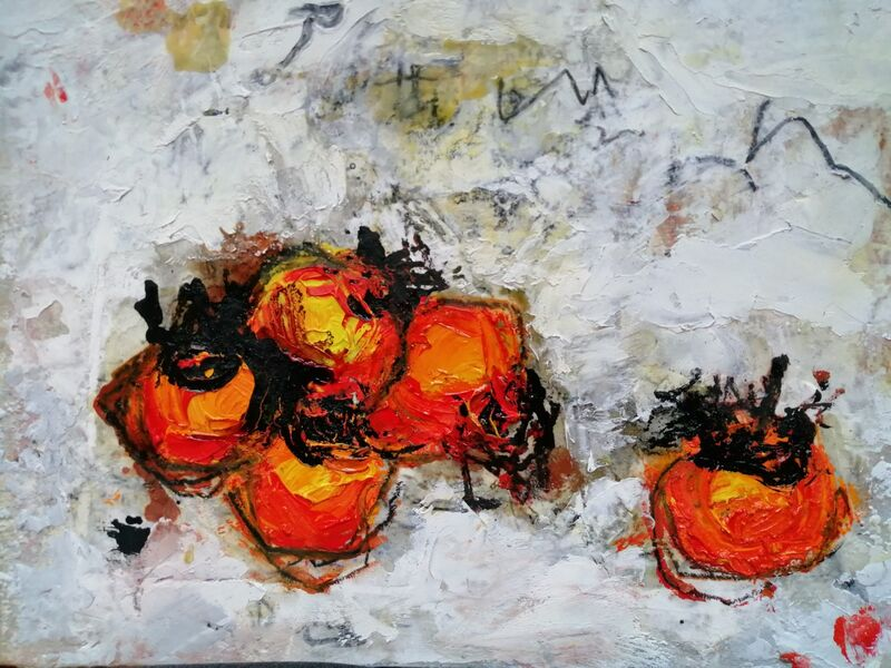 Persimmons. 8x10ins mixed media on gesso panel