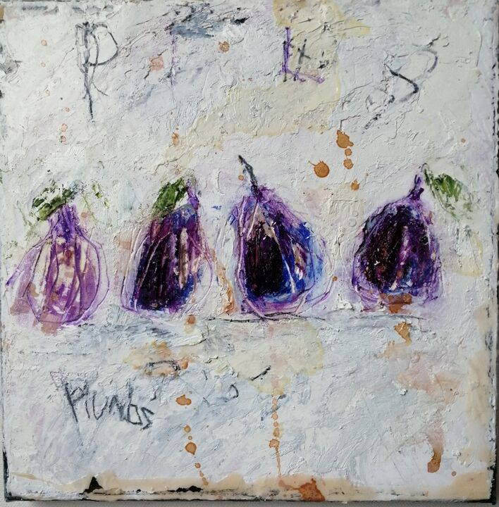 Plums (sold) 20x20cms oil on gesso