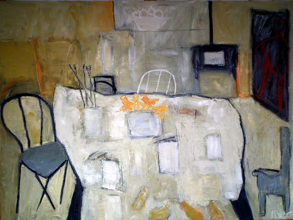 Interior with stove  (Sold) 48x 36ins. oil on canvas