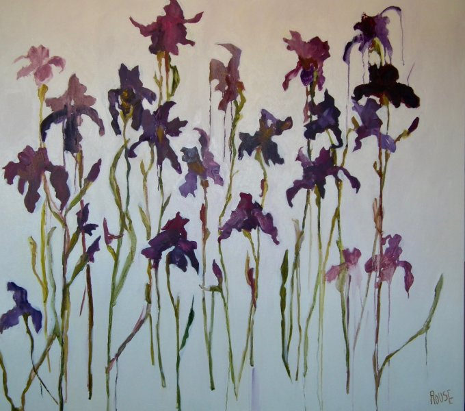 Stand Alone Iris<br>Oil on Canvas, Framed, 110x120cm<br>SOLD