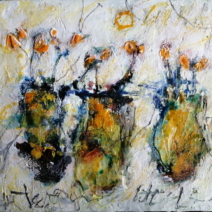 Little Yellow Flowers 10x12ins (sold)