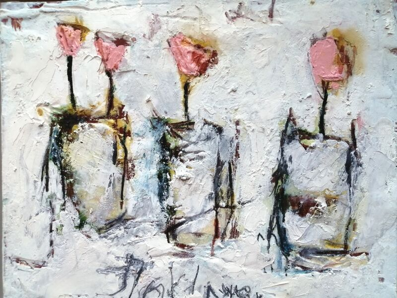 Pink Flowers 2 (sold) 10x12ins. mixed media on gesso panel