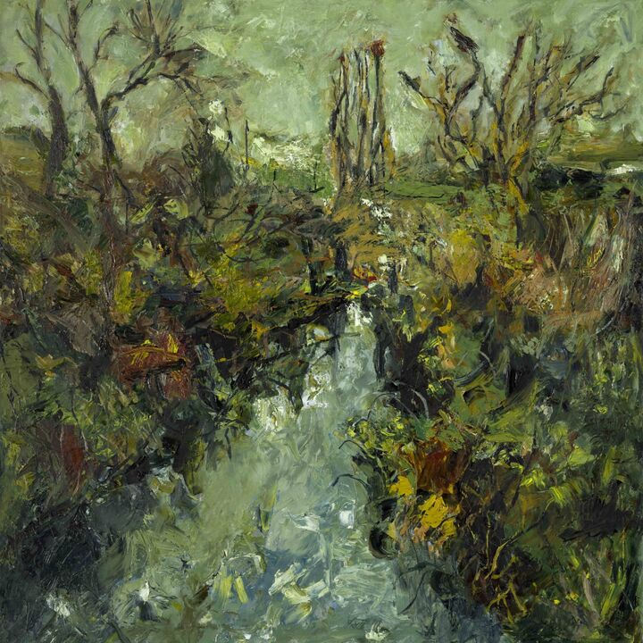 River Crane oil on canvas 100x1000cms. +frame