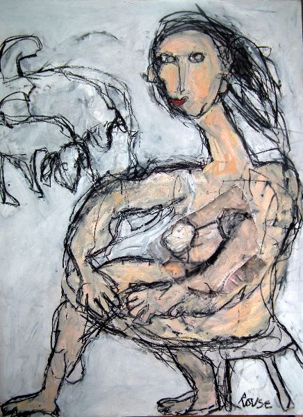 Seated Woman with Dogs<br>Mixed Media, Framed, 75x100cm