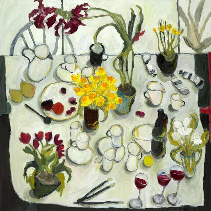 Table with Amaryllis and Spring Flowers oil on canvas 100x100 cms +frame