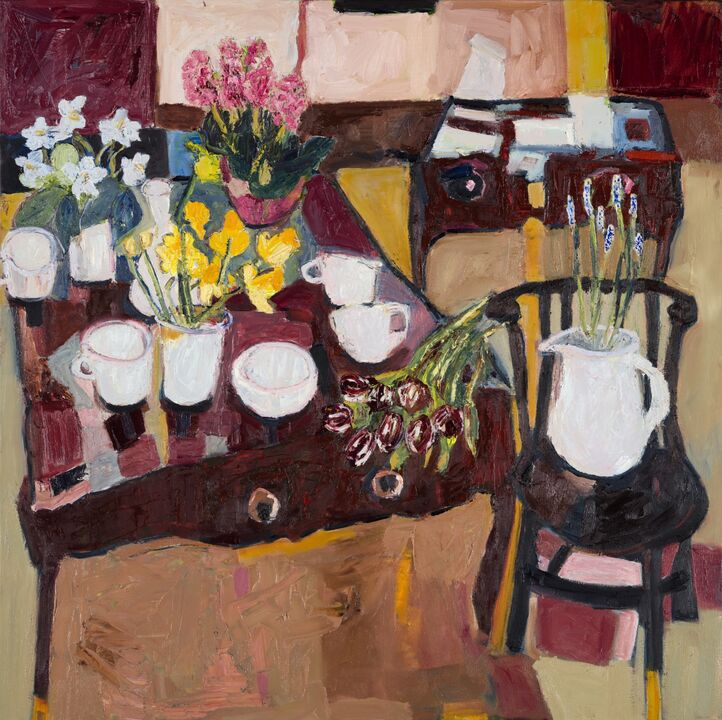 Table with Hyacinths oil on canvas 100x100cms +frame