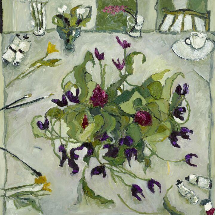 Tulip Bowl  oil on canvas 100x100 cms. +frame