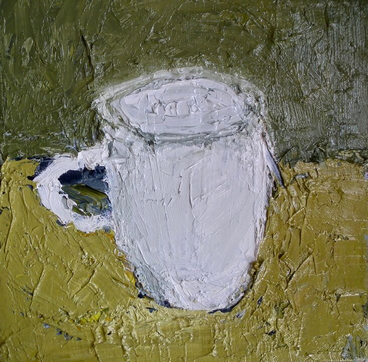 White Mug oil on canvas 20x20 framed