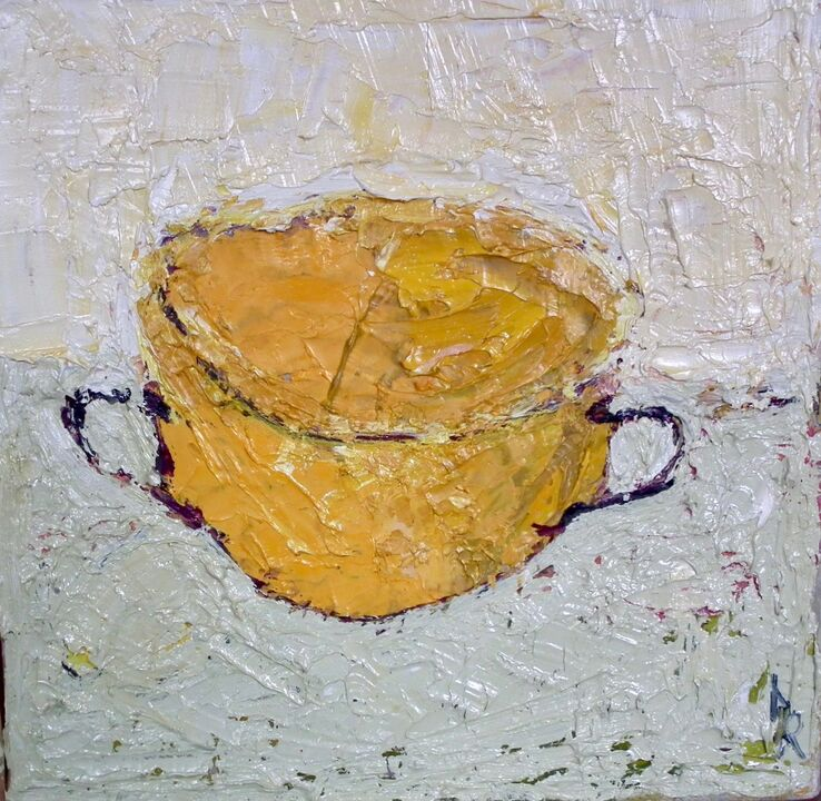 Yellow Cup oil on canvas 20x20cms framed