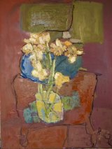 Red Table, Yellow Daffs (sold)