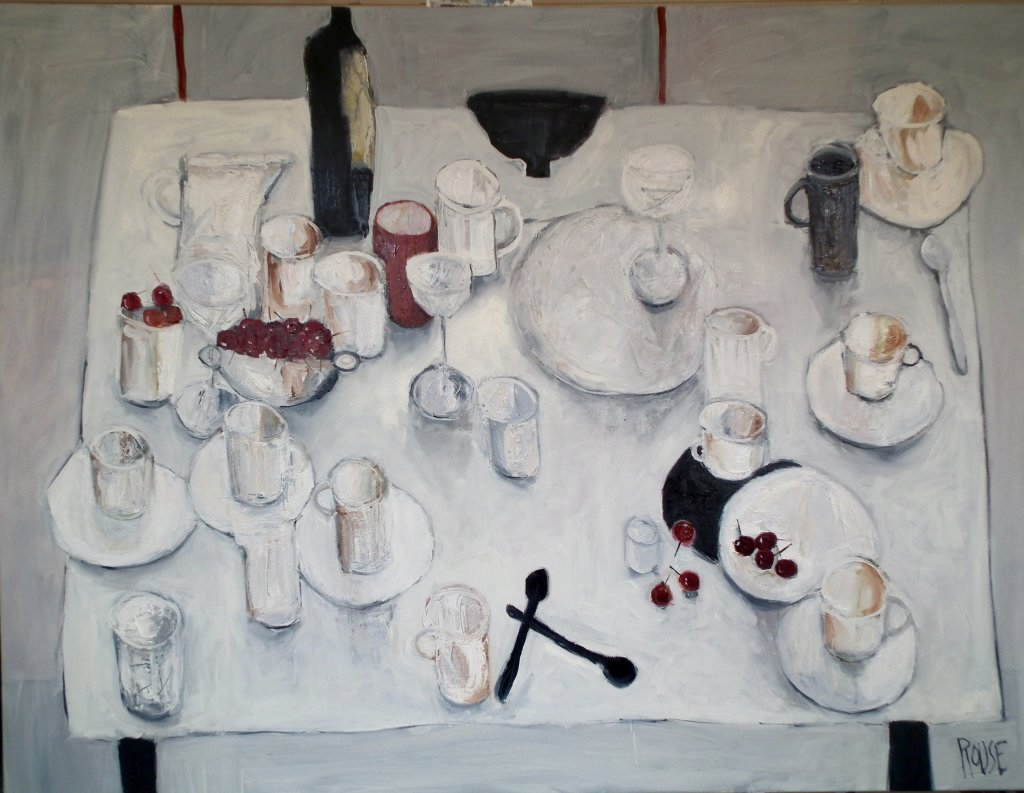 Table With Cherries<br>Oil on Canvas, Framed, 91x120cm<br>SOLD