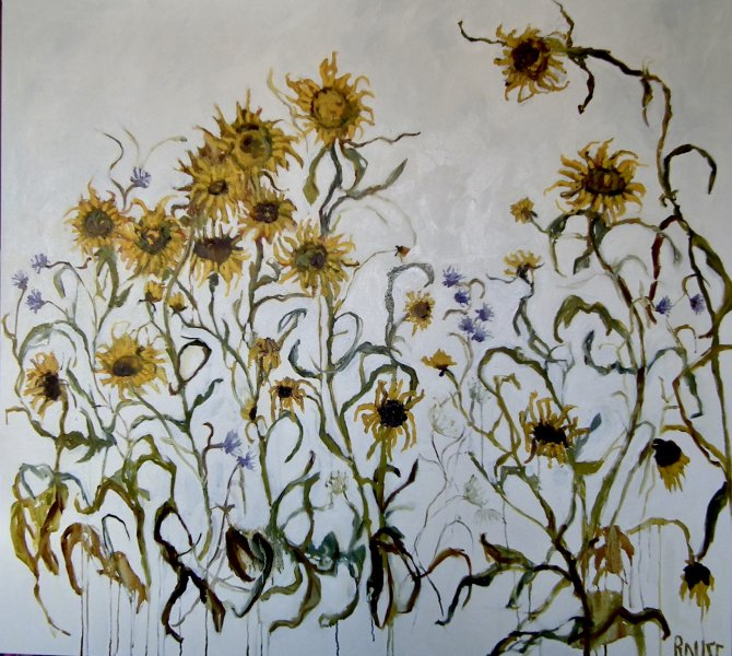 Sunflowers<br>Oil on Canvas, Framed, 110x120cm<br>SOLD