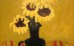 Sunflowers in Black Jug