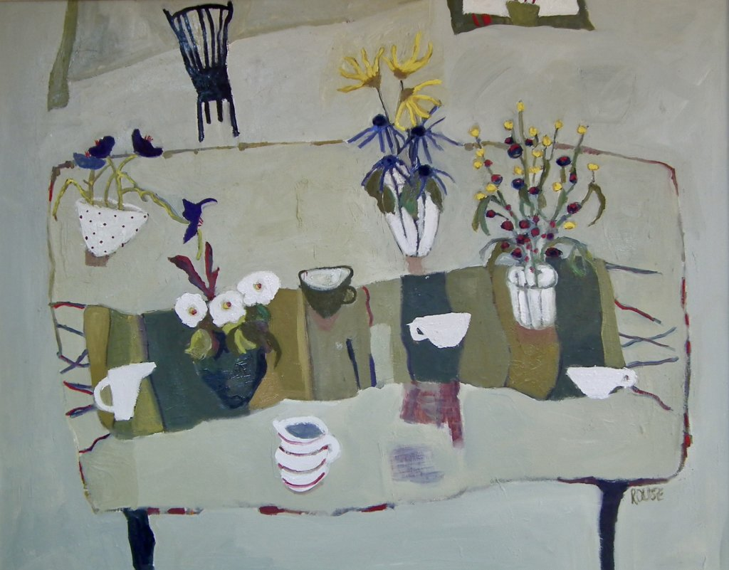 Table with Porcelain Cups<br>Oil on Wood, Framed, 84x105cm<br>SOLD